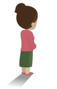 寂しそうな後ろ姿の女性のイラスト