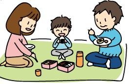 親子3人、公園でお弁当を食べてるイラスト