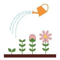 花にジョローで水をやるイラスト、芽が出て花が咲く様子