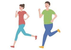 ジョギングしてる男女のイラスト