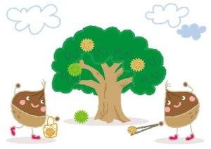 栗が実った木のイラスト