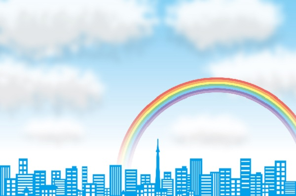 街の空に虹がかかってるイラスト