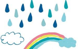 雨降りと虹のイラスト