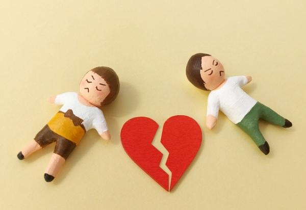 喧嘩したカップルの粘土の画像
