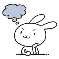 考えてるウサギのイラスト